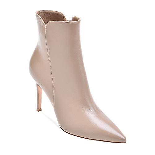 PU PU Caviglia Caviglia Caviglia Tacco Cerniera Pompa Alto Beige Stivali Donna Manuale SYYAN Appuntito gTqn1w