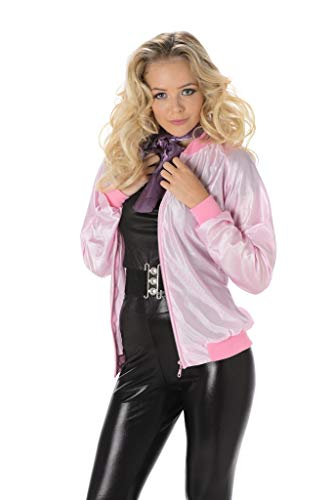 Pink Ladies Jackets Cheap (50s Pink Satin Jacket - Halloween Womens Retro Greaser Costume Accessory,)