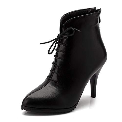 Myxua Spillo A Black Stivali Punta Eleganti Donna Lavoro Tacco Stivaletti Vintage Da Caldi rqrwpfY