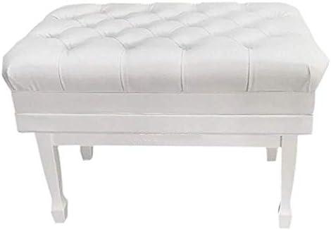 WY ピアノベンチ2人のピアノ椅子ストレージではソリッドウッド防水ソフト厚みのPUレザー調節可能なピアノ・キーボードベンチ QIN (Color : 白い, Size : 83x45x50-60cm)