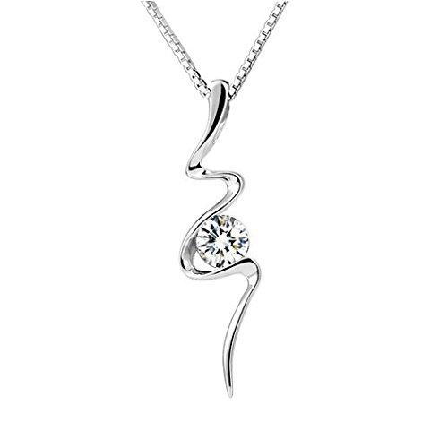 TOPSTARONLINE 18KGP 1-Stone Swirl Zircon Pendant Necklace