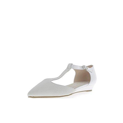 Abierto bailarinas offset blanco acentuadas con tobillo de brida