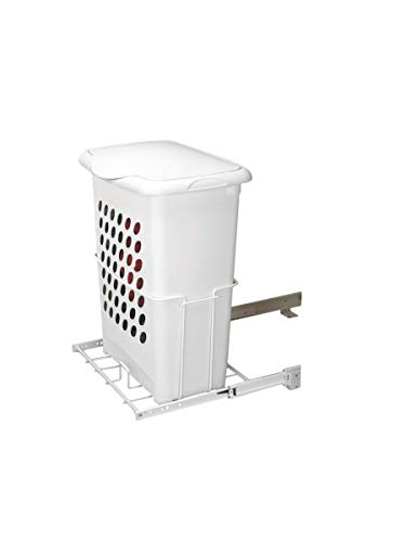 Rev-A-Shelf Polymer Door Mount Pullout Hamper w/lid, White