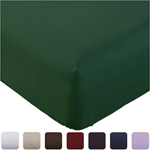 Mellanni Fitted Sheet King Emerald-Green - Brushed Microfiber 1800 Bedding - Wrinkle, Fade, Stain Resistant - Deep Pocket - 1 Single Fitted Sheet Only (King, Emerald Green)