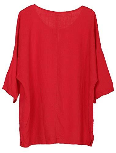Blouse Style Shirts Manche Uni Mode Col Manches Rond Lin Jeune Bouffant Spcial Et 4 Chemisiers Rouge 3 Blouse Mode Button Confortable Chemise Elgante Casual Femme B7ZWUEPf
