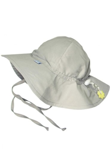 Iplay Baby Infant Toddler Unisex UPF 50 Solid Brim Sun Hat (Gray, 0-6 Months)