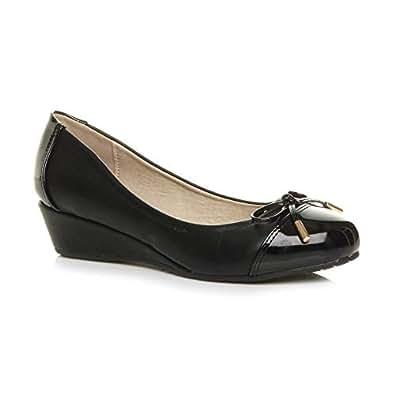 Ajvani Women's Ladies Low Mid Heel Wedge Bow Smart Dolly Ballerina Court Shoes Size 6 37 Black