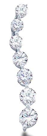 14k White Gold Round Cut Diamond 7 Seven Stone Journey Dangle Twist Pendant - 5mm Width 27mm Height (1.0 cttw)
