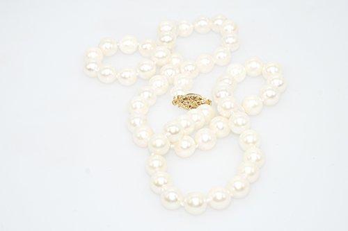 Schmuckwilly Collier Perles culture d'Akoya - 42CM Collier Perles de culture d'Akoya AA 6.5-7mm Perle Or jaune 585/1000 fermoir dak0004-42