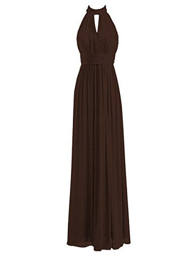 Bridesmaid Dresses Long Prom Dress Chiffon Halter Evening Gowns Pleat Wedding Party Dress Chocolate 3X