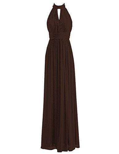 Bridesmaid Dresses Long Prom Dress Chiffon Halter Evening Gowns Pleat Wedding Party Dress Chocolate XXL