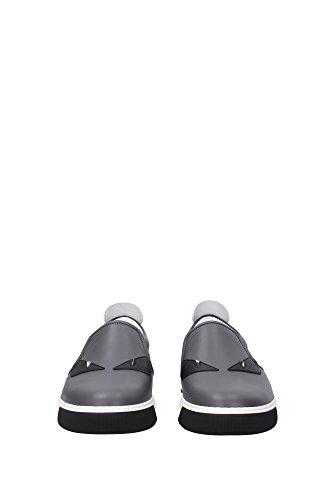 Pantofole Fendi Uomo In Pelle Grigio, Blu, Bianco E Nero 7e0942ttyf07lh Grigio 42eu