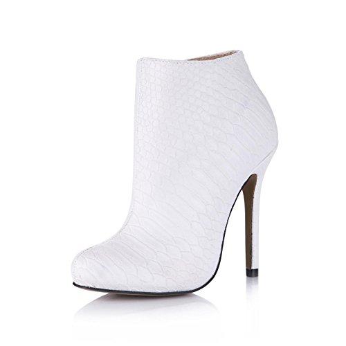 Best 4U? Women's Spring Autumn Sandals Shoes Premium PU Round toe 12CM High Heels Platforms Rubber Sole Zipper Pumps Shoes KSzO3eO