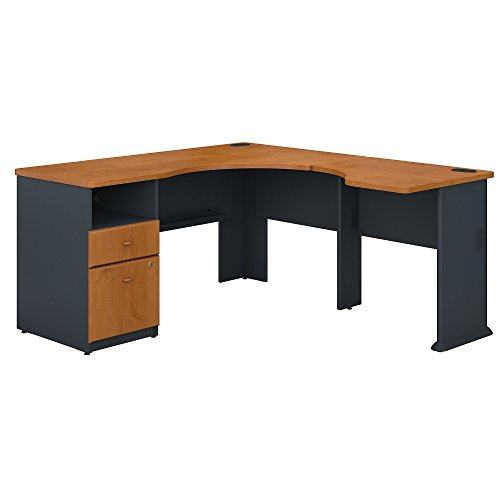 Bush Business Furniture Series A 60W L Shaped Corner Desk with 2 Drawer Pedestal and 30W Bridge in Natural Cherry and ()