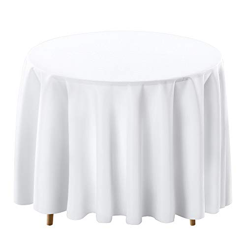 Surmente Tablecloth 120 Inch Round Polyester Table Cloth for Weddings, Banquets, or Restaurants (White) ...
