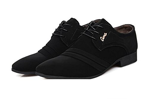 Missfiona Mens Letter Lace Velluto Lace-up Oxford Dress Shoes Ufficio Cap Toe Calzature Nero