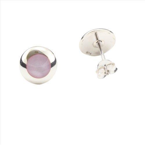 Boucles d'oreilles en nacre rose et argent 925 /Fermoir clou