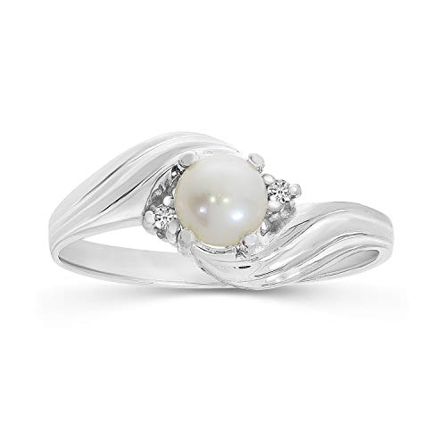 Freshwater Cultured Pearl and Diamond Ring in 10K White Gold