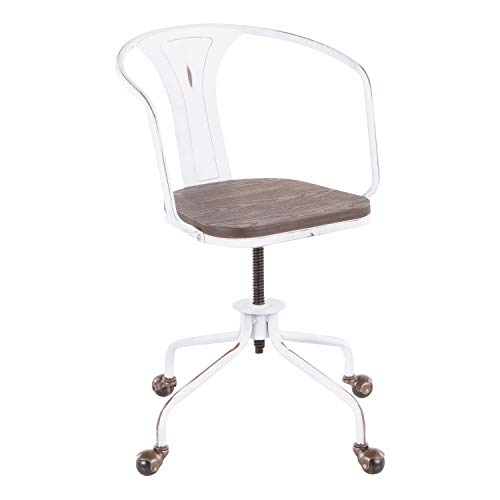 LumiSource Oregon Industrial Task Chair, Espresso/Vintage White (Industrial Task Chairs)