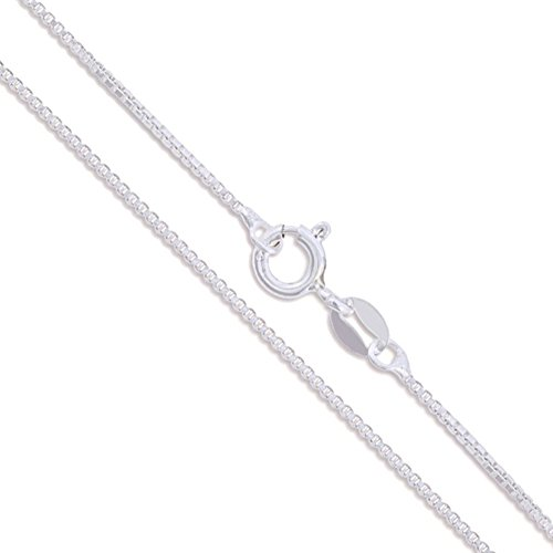 10k White Gold Solid Box Link Chain 0.6mm Necklace 18