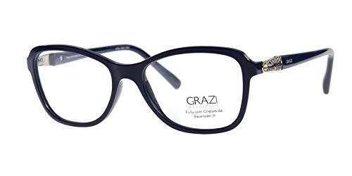 20ade8798d4d2 Óculos de Grau Grazi Massafera GZ3021B E099 Azul Com Cristais Da SWAROVSKI  Lente Tam 52