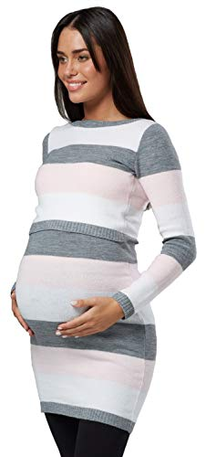 Felice Womens Rosa 453p Maternità Equipaggio Cura Tunica Maglia Di Collo Di Tagliata Mamma Cipria 7gqrx57p