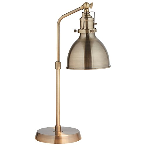 Antique Brass Task Lamp - Rivet Pike Factory Industrial Table Lamp, 19