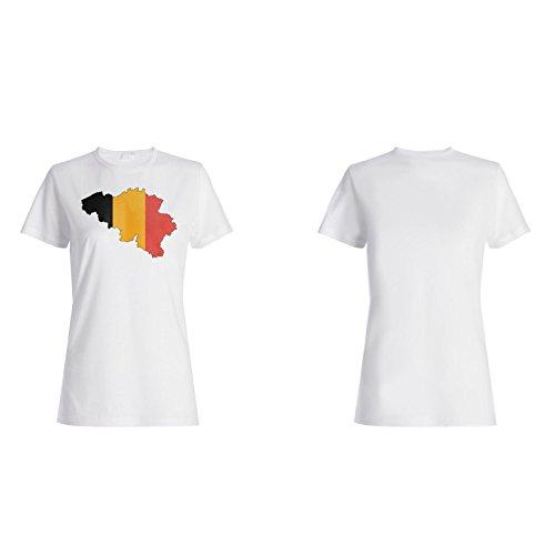 Neue Belgien Flagge Weltkarte Kunst Damen T-shirt i648f