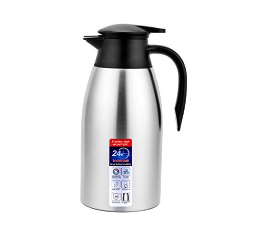 Coffee Carafe, 68 OZ Thermos Coffee Cold Drink Kettle Household Water Pitcher Bottle Insulated Double Walled Vacuum Kettle (silver)