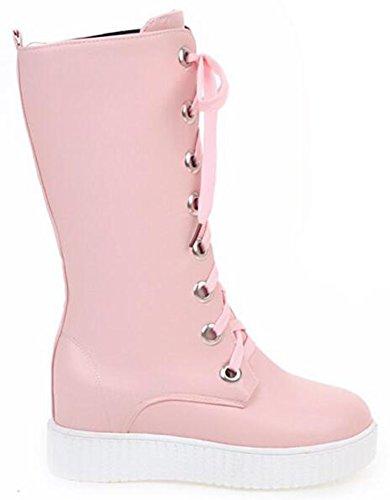 Up Riding Mid Hidden Wedge Pink Lace Womens Platform Boots Heels IDIFU Inside Calf Casual Mid Bfvtz