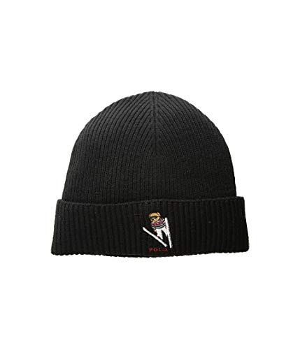 Polo Ralph Lauren Unisex Bear Design Wool Winter Skulllie Cap Beanie Hat One Size (Black/Ski) (Polo Hats Bucket For)