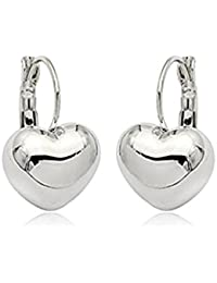 Simple Smooth Heart Leverback Earrings Fashion Jewelry for Women