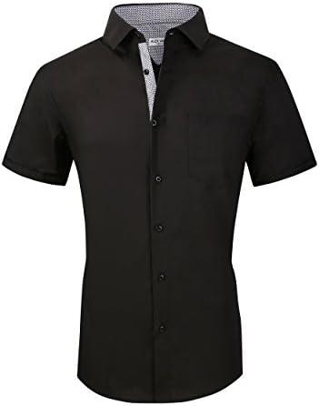 Alex Vando Mens Dress Shirts Cotton Poplin Spandex Short