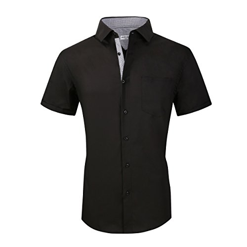 Alex Vando Mens Dress Shirts Casual Regular Fit Short Sleeve Men Shirt(Black,Small)
