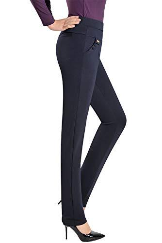 Scuro YIHIGH Pantaloni Vita Elastico di Colore Blu Donn Quotidiano Casual Lavoro Forti Alta Solido Leggings Taglie Ufficio SCSawFqBx