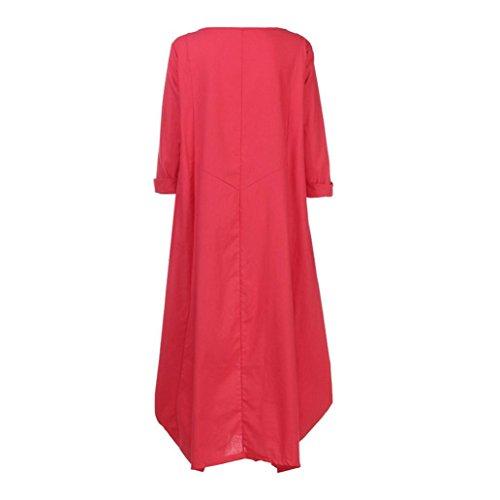 Longuette Size Maxi Baggy Red Dress Girls Neck Style Chinese Fluttering Kanpola Long Plus Color Women Solid Crew Casual Cotton Loose wxpTnU1q