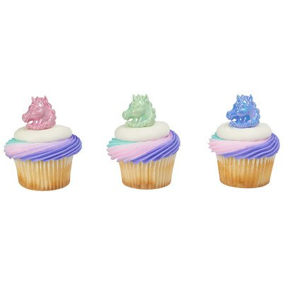 Unicorn Cupcake Rings - 24 pc