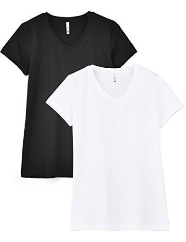 Zengjo 2-Pack Basic Plain V Neck Slub T Shirts for Women Fitted Short Sleeve Cotton Modal Knit Tee Shirt(XXL/US ()