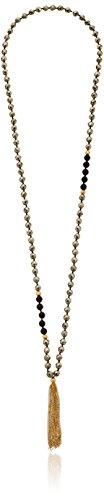 Pyrite and Black Onyx Mala Strand Necklace