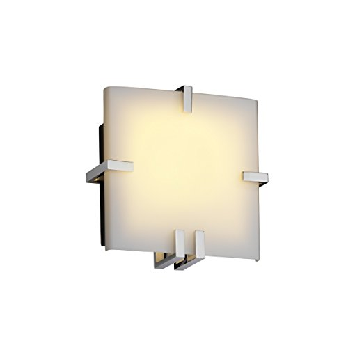 Justice Design Group - Fusion Collection - Clips Square Wall Sconce (ADA) - Polished Chrome Finish with Opal Glass, Fluorescent