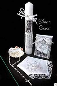 English Handmade Christening/Baptism Set for Girl, Boy Cross Silver : Candle, Prayer Booklet, Dry Cloth, Sea Shell, and Rosary –Bautizo Religious Gift