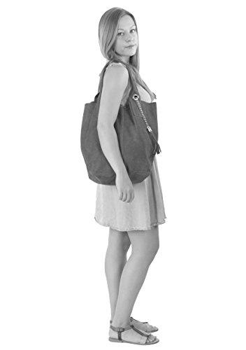 histoireDaccessoires - Bolso de Cuero de Mujer para Llevar al Hombro - SA136623GV-Miss Aguamarina