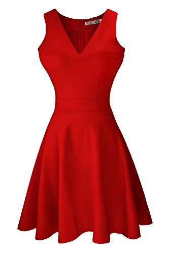 Heloise Women's A-Line Sleeveless V-Neck Pleated Little Red Cocktail Party Dress (L, Red)