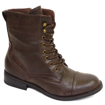 Ladies Brown Military Lace-Up Round Toe Combat Army Style Womens ...