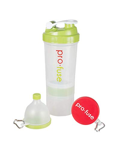 Pro-Fuse Sports Shaker Bottle Storage Fill N Go Supplement CompartmentBonus