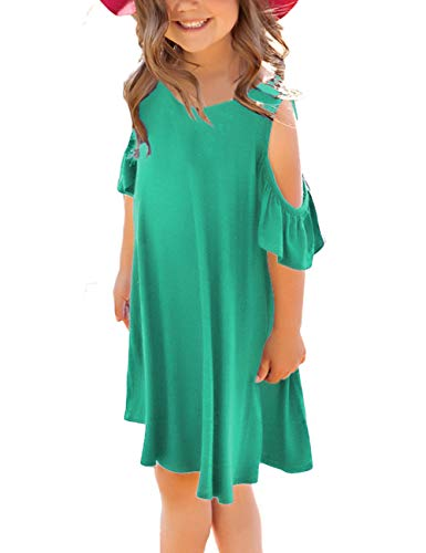 GRAPENT Girls Cold Shoulder Ruffled Short Sleeve Casual Loose Tunic T-Shirt Dress Size Large (8-9 Years) Green -