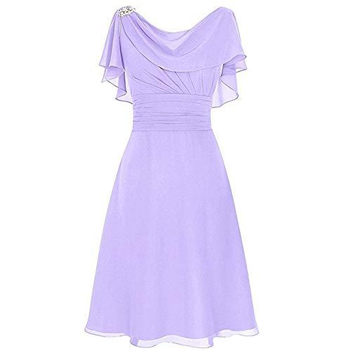 Aniywn Women Formal Wedding Bridesmaid Dress Plus Size High-Waist Party Ball Prom Gown Cocktail Dress Purple
