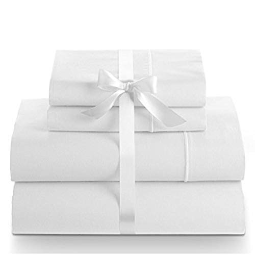 Linenwalas 100% Cotton Bed Sheet - 800 Thread Count Deep Pocket 4 Piece Sheets | Silk Like Soft, Hypoallergenic, Breathable & Cooling Sateen | Hotel Luxury Bedsheets Deal (King, Snow White)