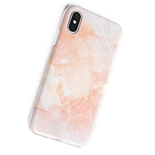 Obbii Case Compatible with iPhone X/XS Rose Pink Geometric Marble, Shockproof Slim TPU Soft Flexible Rubber Gel Cover…