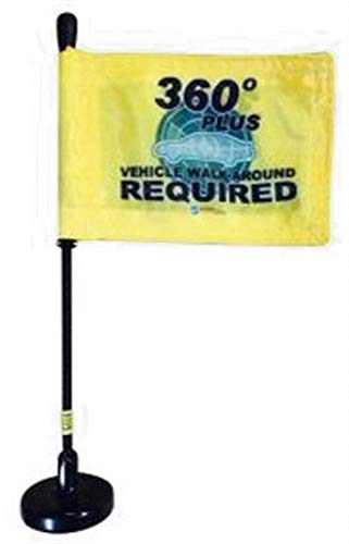 360 Vehicle Inspection Flag with Magnetic Base and Flexible Flag Pole